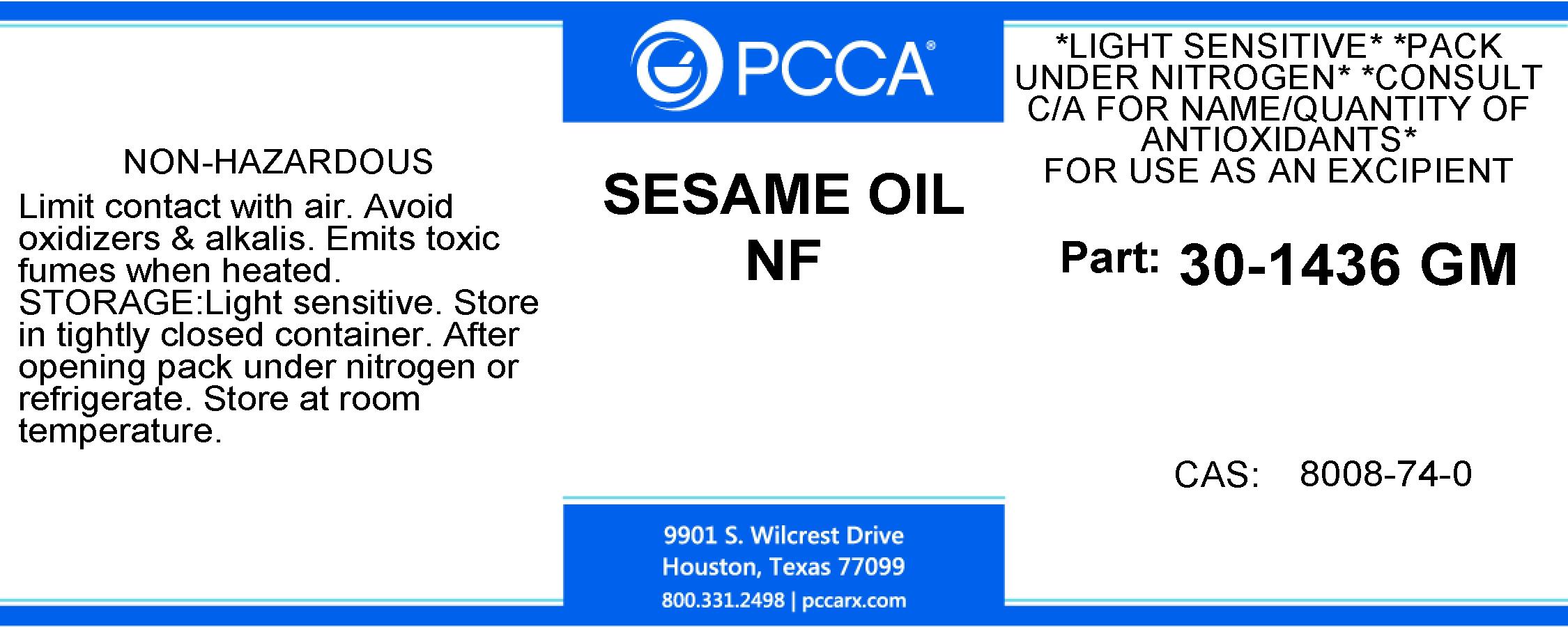 SESAME OIL NF - PCCA